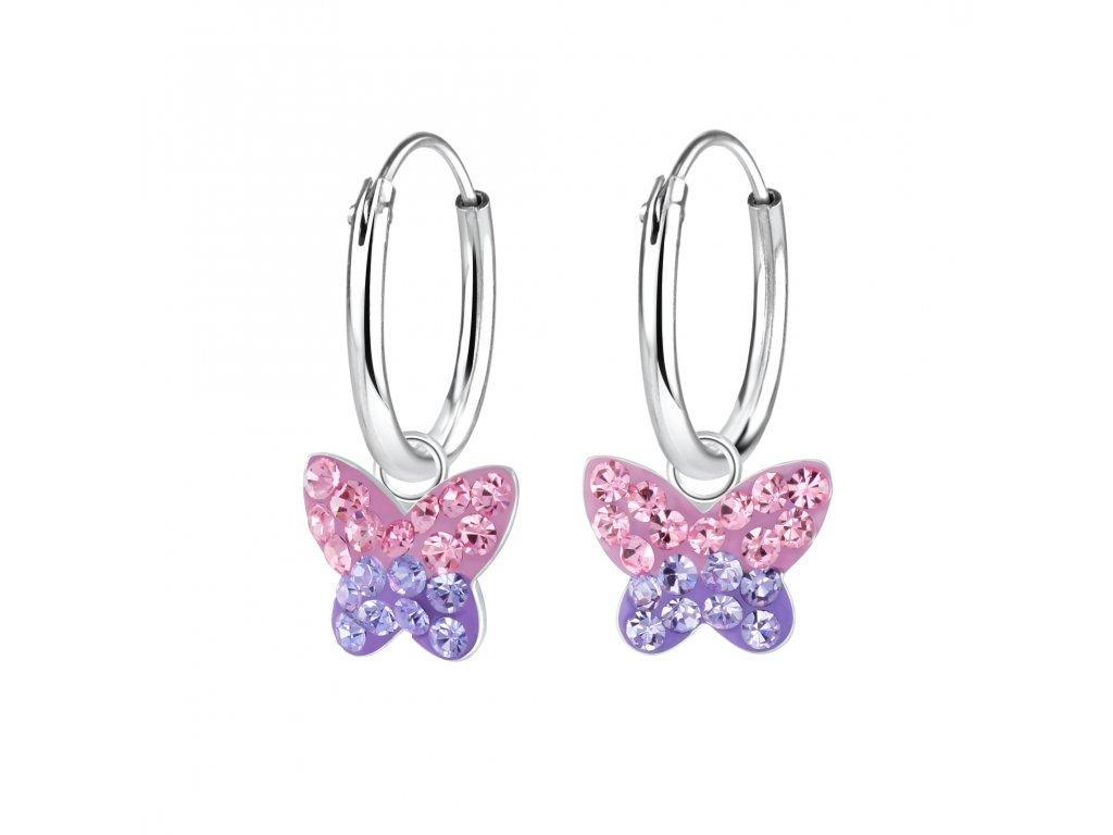 Dětské stříbrné náušnice kroužky s růžovo fialovým motýlkem  Ag 925/1000