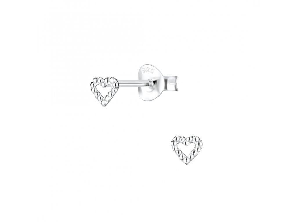Stříbrné náušnice mini srdíčka  Ag 925/1000