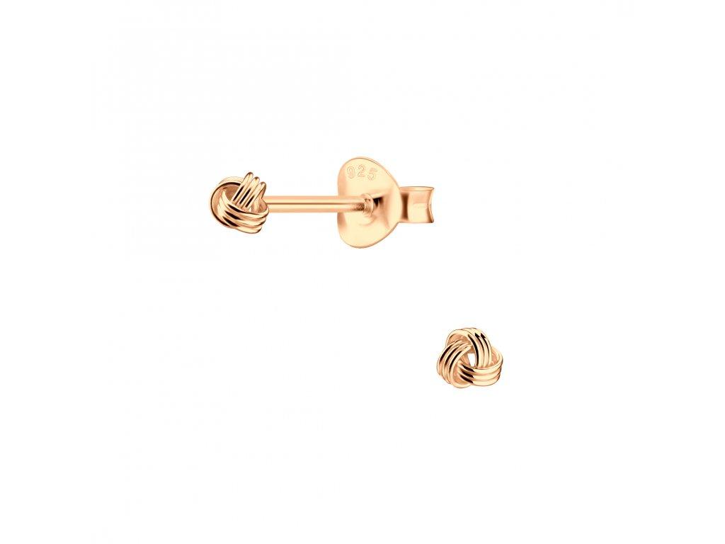 Rose Gold náušnice UZEL 3 mm  Ag 925/1000