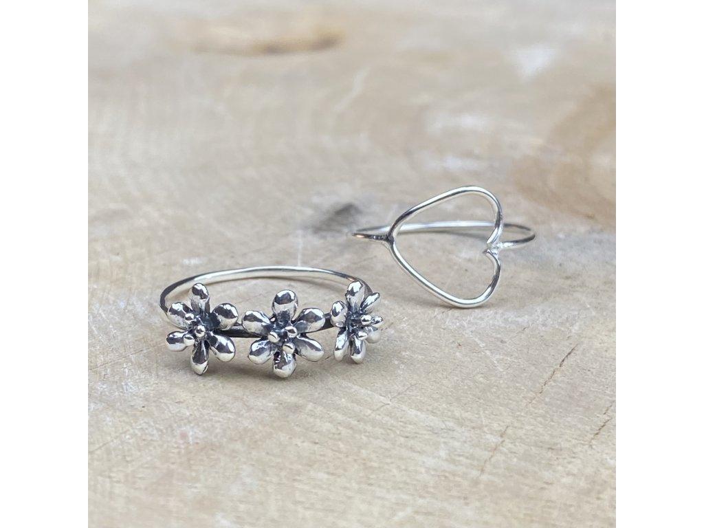 Stříbrný prstýnek Flower 4  Ag 925/1000