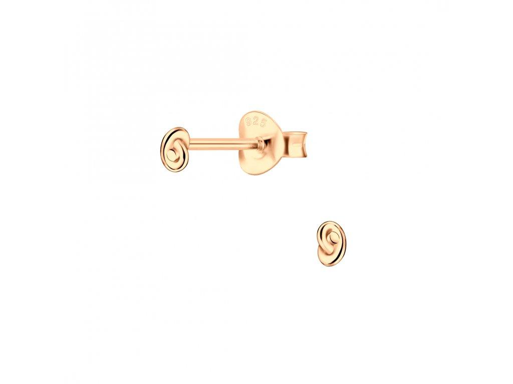 Rose Gold náušnice UZEL 4 mm  Ag 925/1000
