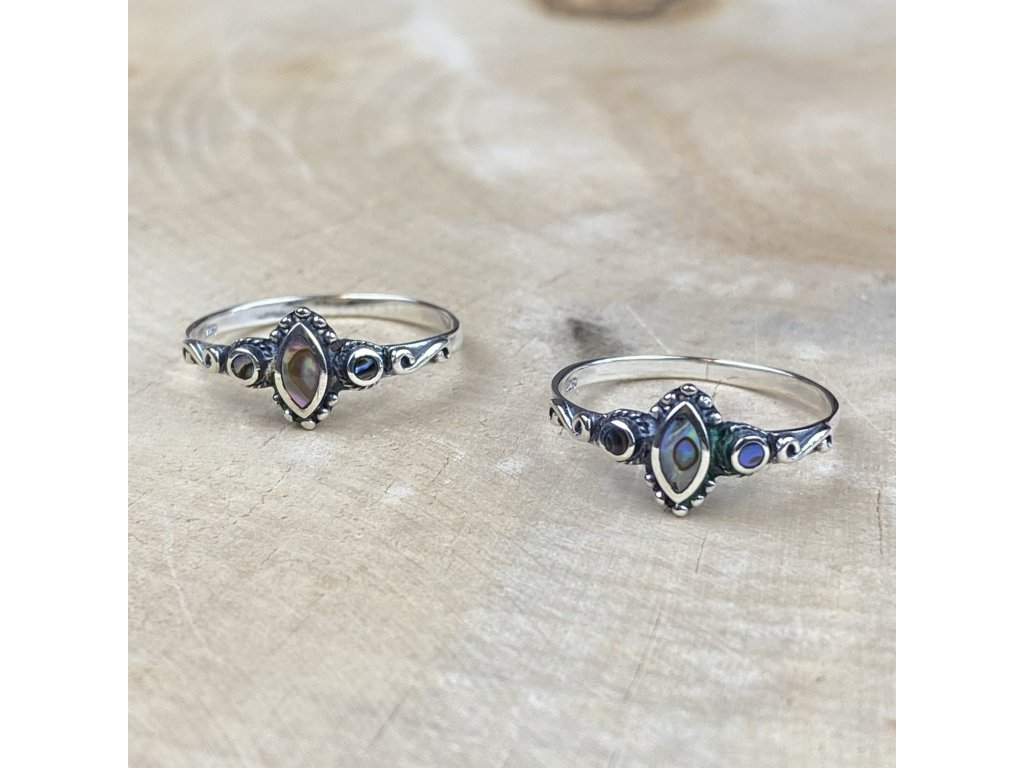 stříbrný prsten abalone