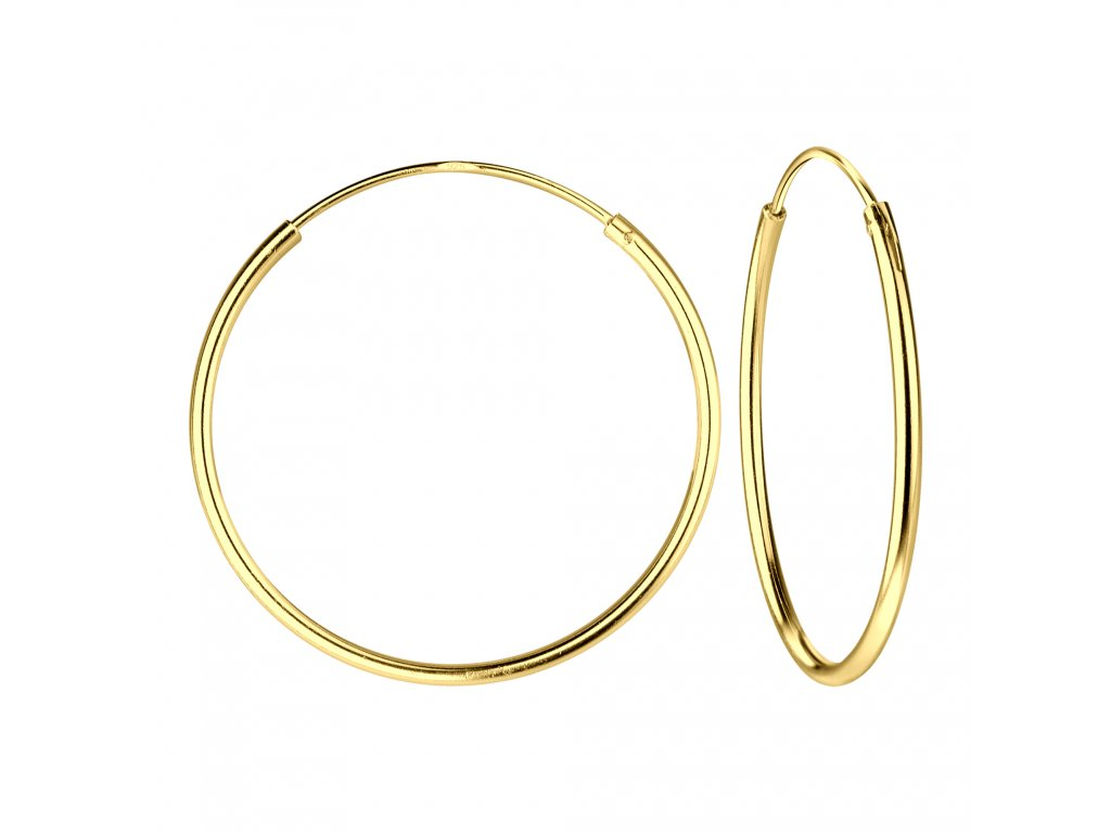 Pozlacené náušnice kruhy 25 mm  Ag 925/1000