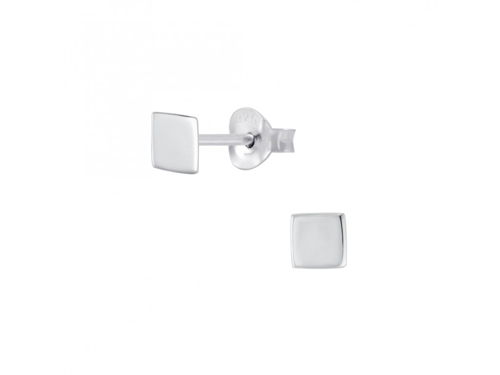 Stříbrné náušnice Square 4 mm  Ag 925/1000