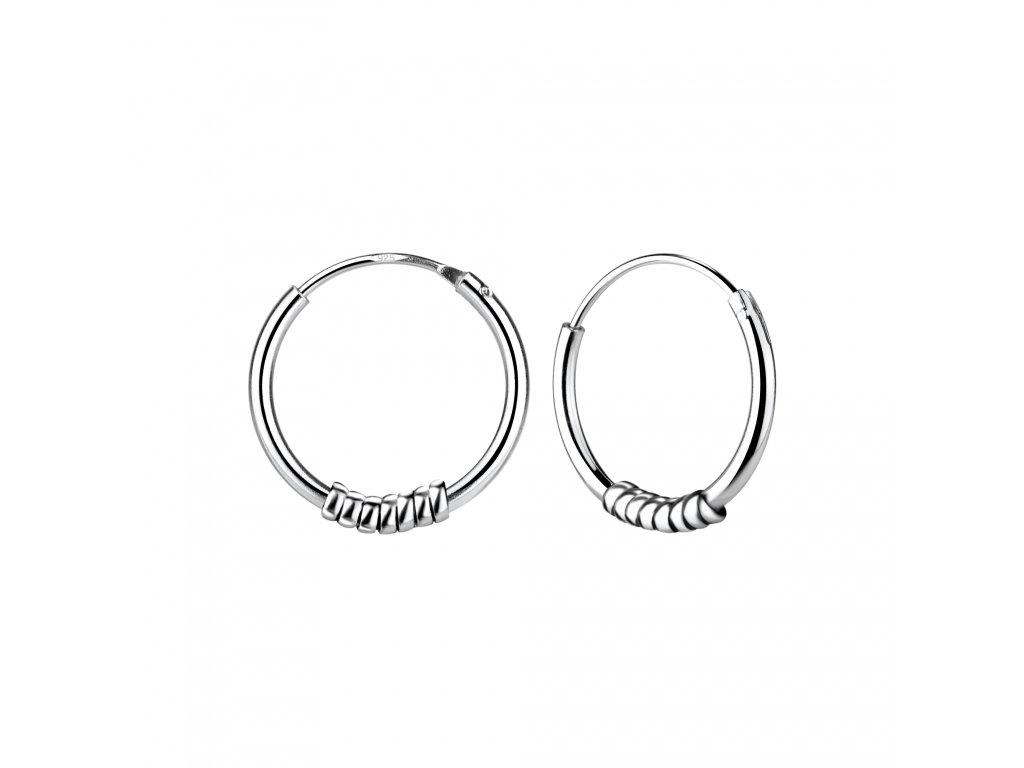 Stříbrné náušnice kruhy Bali 14 mm  Ag 925/1000