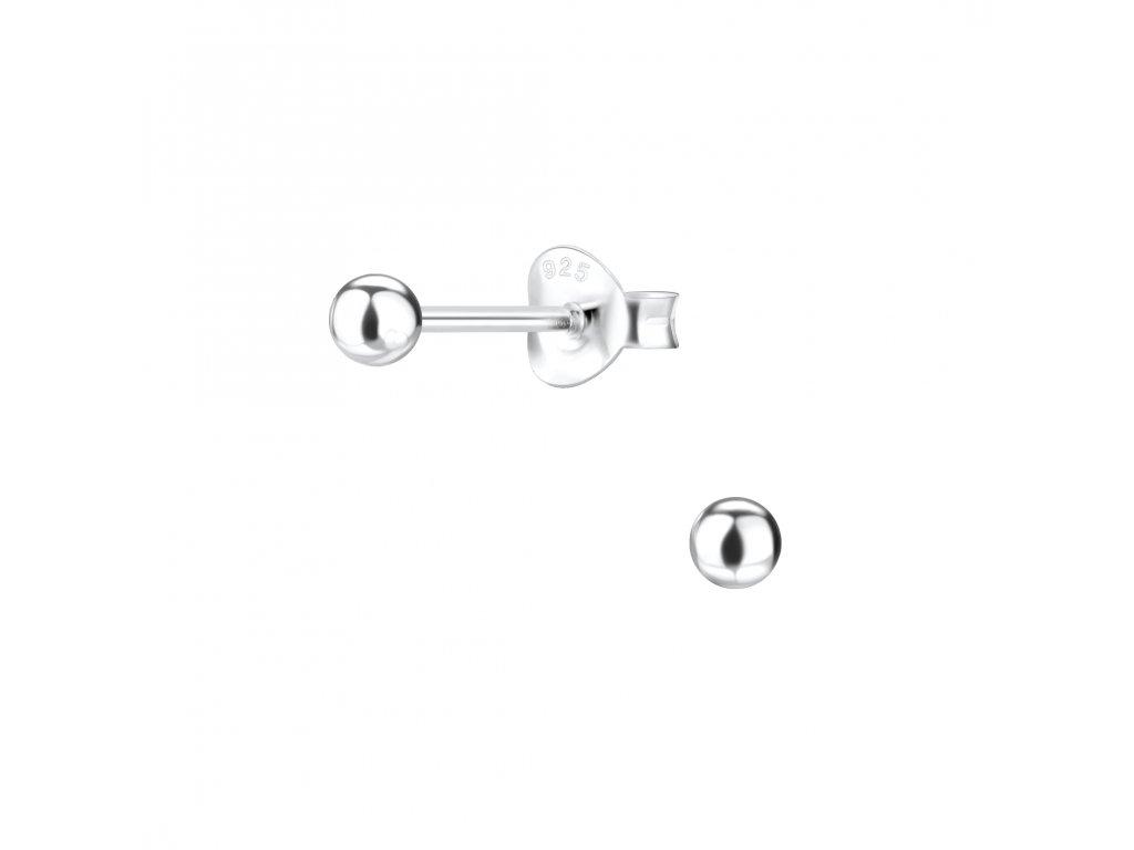 Stříbrné náušnice Ball 3 mm  Ag 925/1000