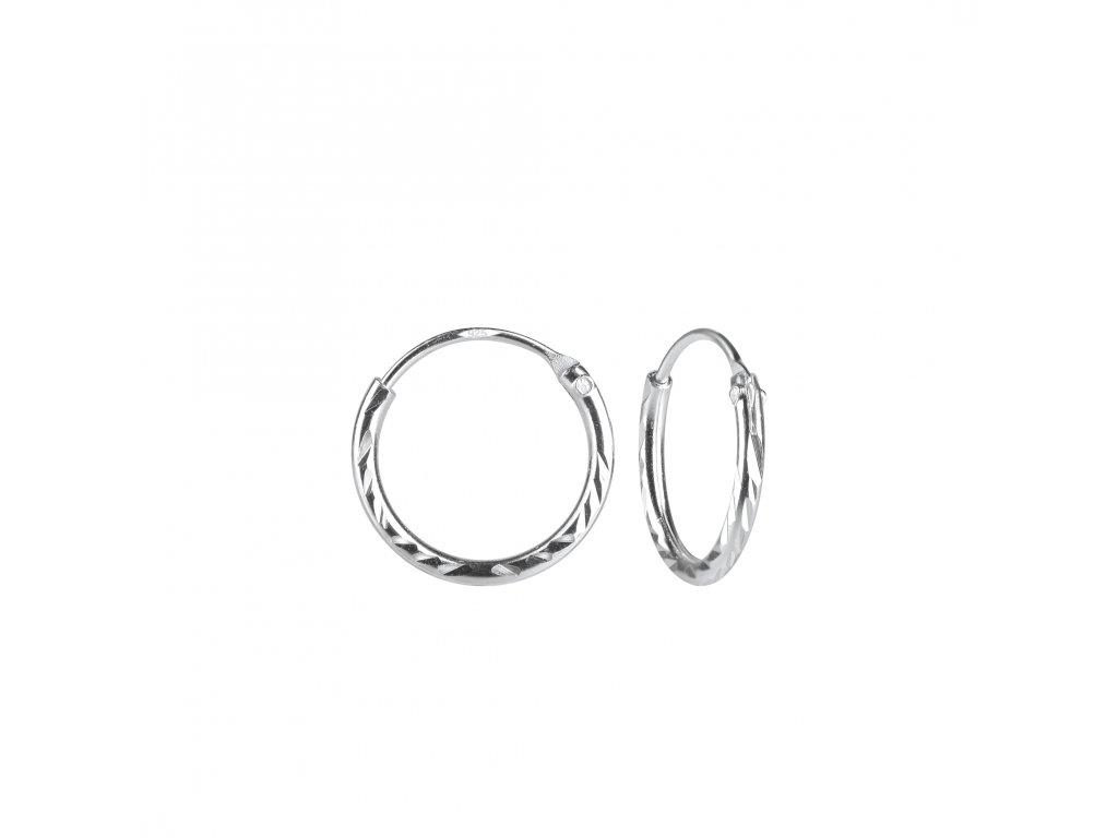 Stříbrné náušnice kruhy Diamond 12 mm  Ag 925/1000