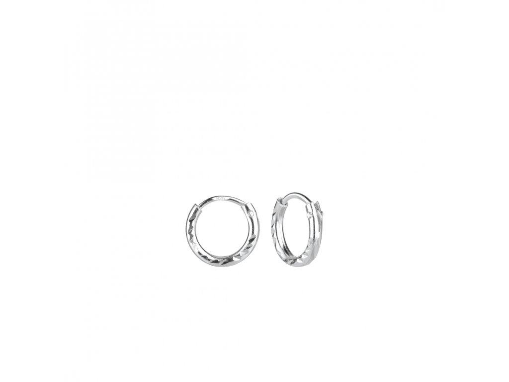 Stříbrné náušnice kruhy Diamond 8 mm  Ag 925/1000