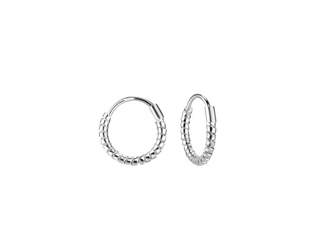 Stříbrné náušnice kruhy Twisted 12 mm  Ag 925/1000