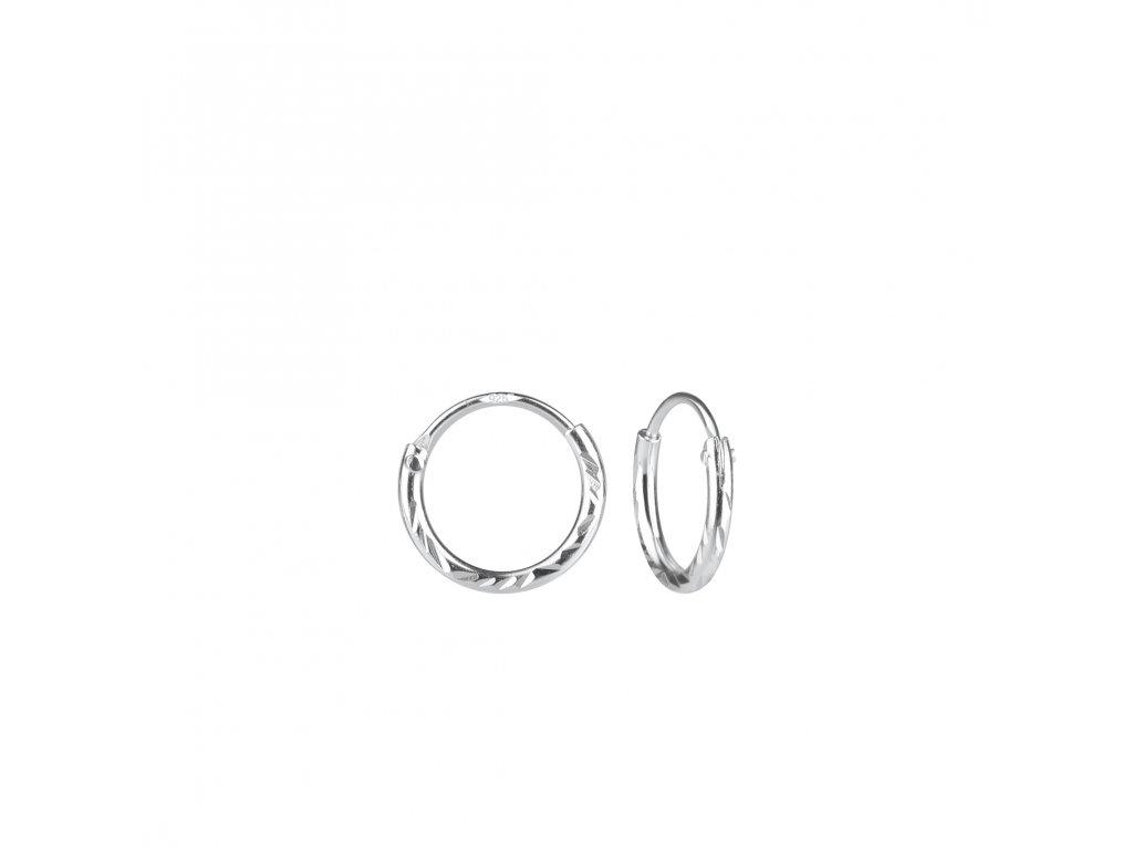 Stříbrné náušnice kruhy Diamond 10 mm  Ag 925/1000