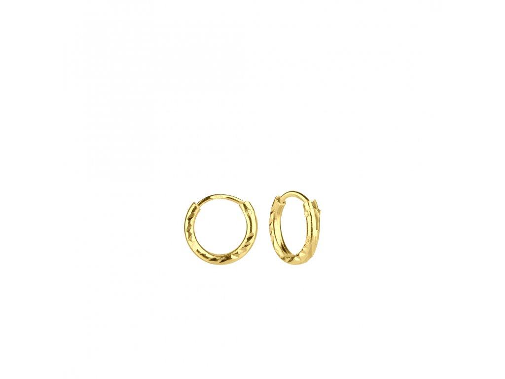 Pozlacené náušnice kruhy Diamond 8 mm  Ag 925/1000