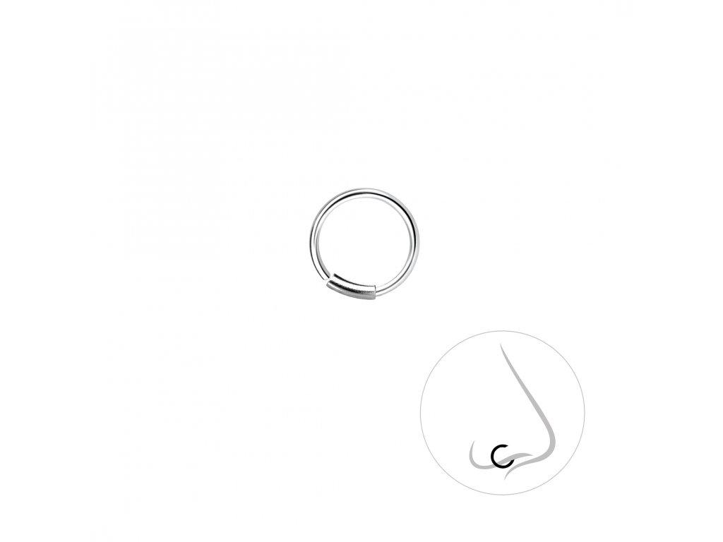 Stříbrný kroužek do nosu 8 mm  Ag 925/1000