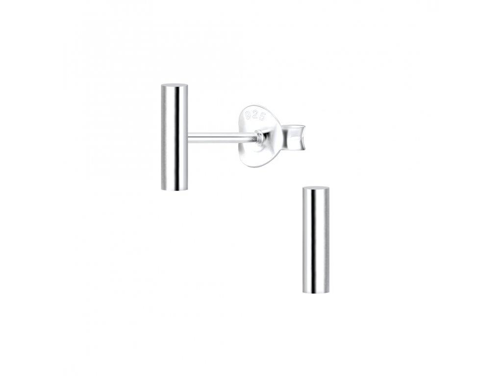 Stříbrné náušnice Bar 8 mm  Ag 925/1000