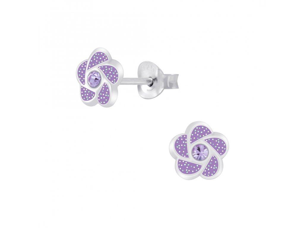 Dětské stříbrné náušnice fialová květinka s krystalem  Ag 925/1000