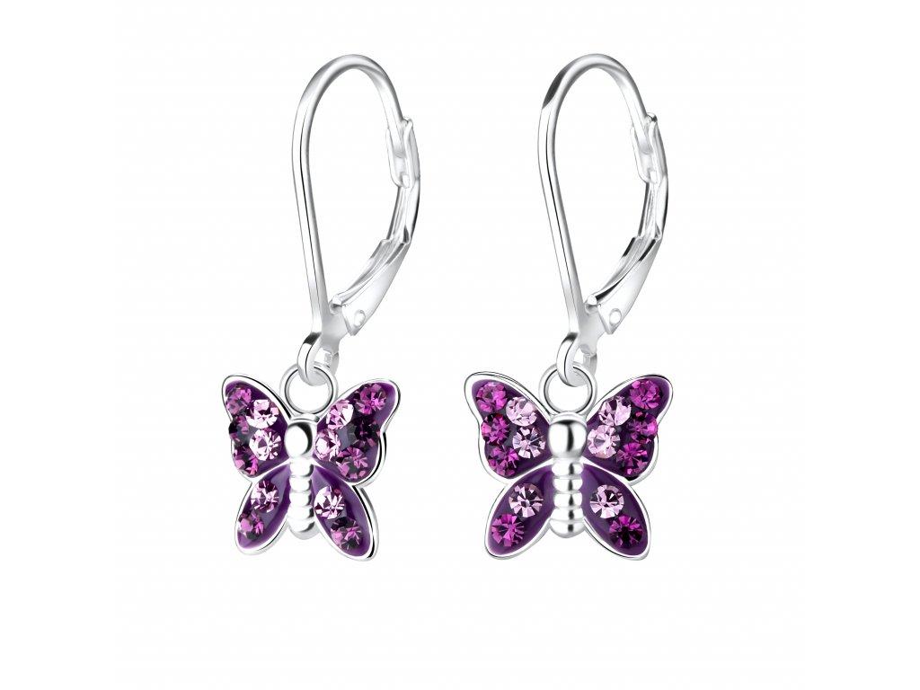 Dětské stříbrné náušnice Fialový motýl s krystaly  Ag 925/1000