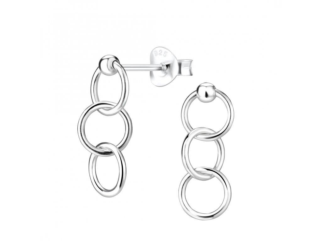 Stříbrné náušnice s třemi kroužky  Ag 925/1000