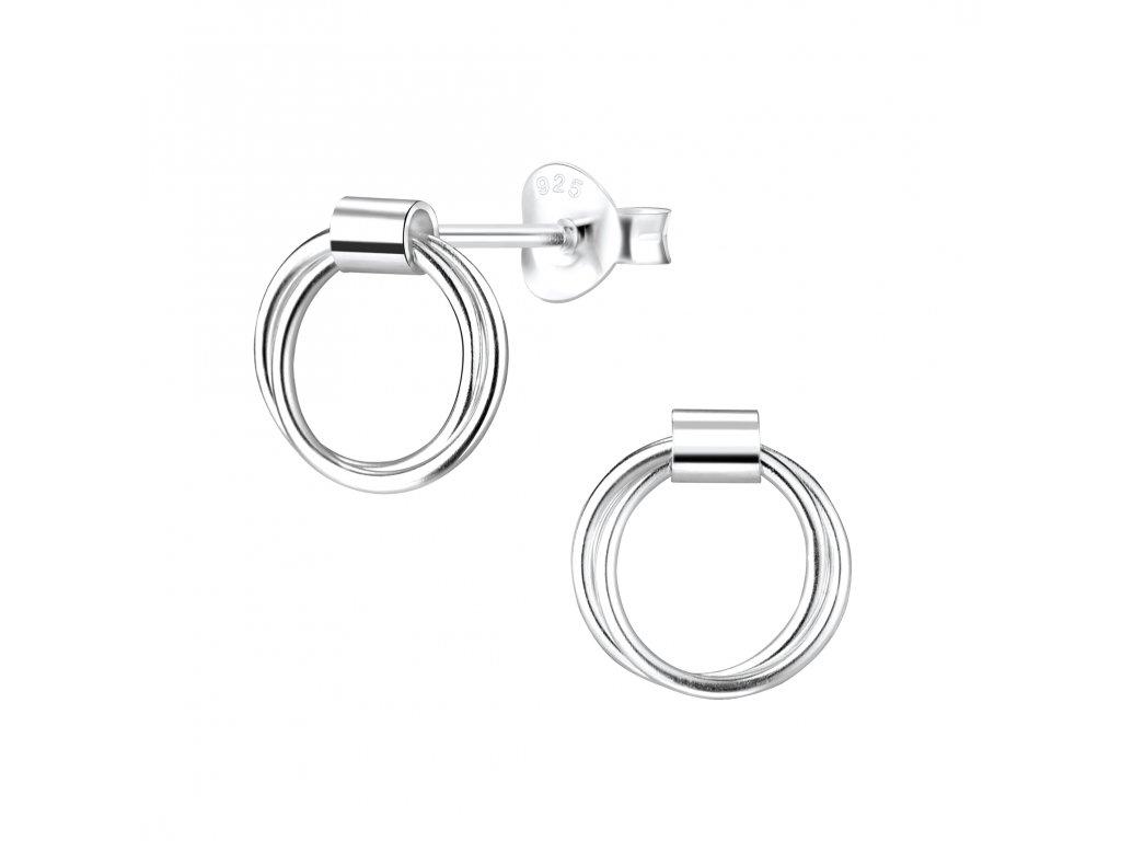 Stříbrné náušnice s dvěma kroužky