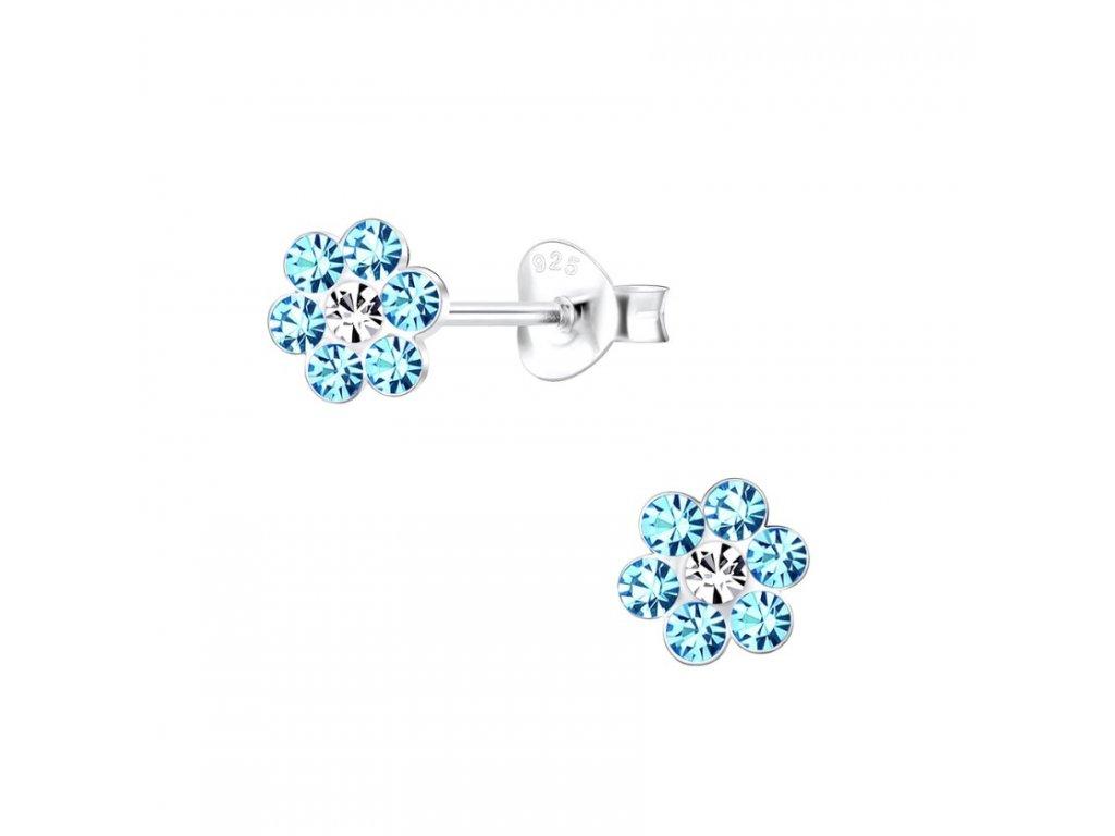 Dětské stříbrné náušnice modrá květinka s krystaly  Ag 925/1000