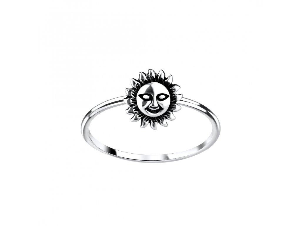 Stříbrný prstýnek Slunce a Měsíc  Ag 925/1000