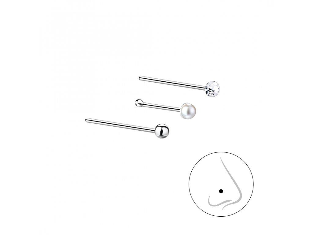 Stříbrný set piercingů V - 3ks  Ag 925/1000