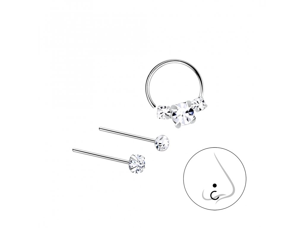 Stříbrný set piercingů VIII - 3ks  Ag 925/1000