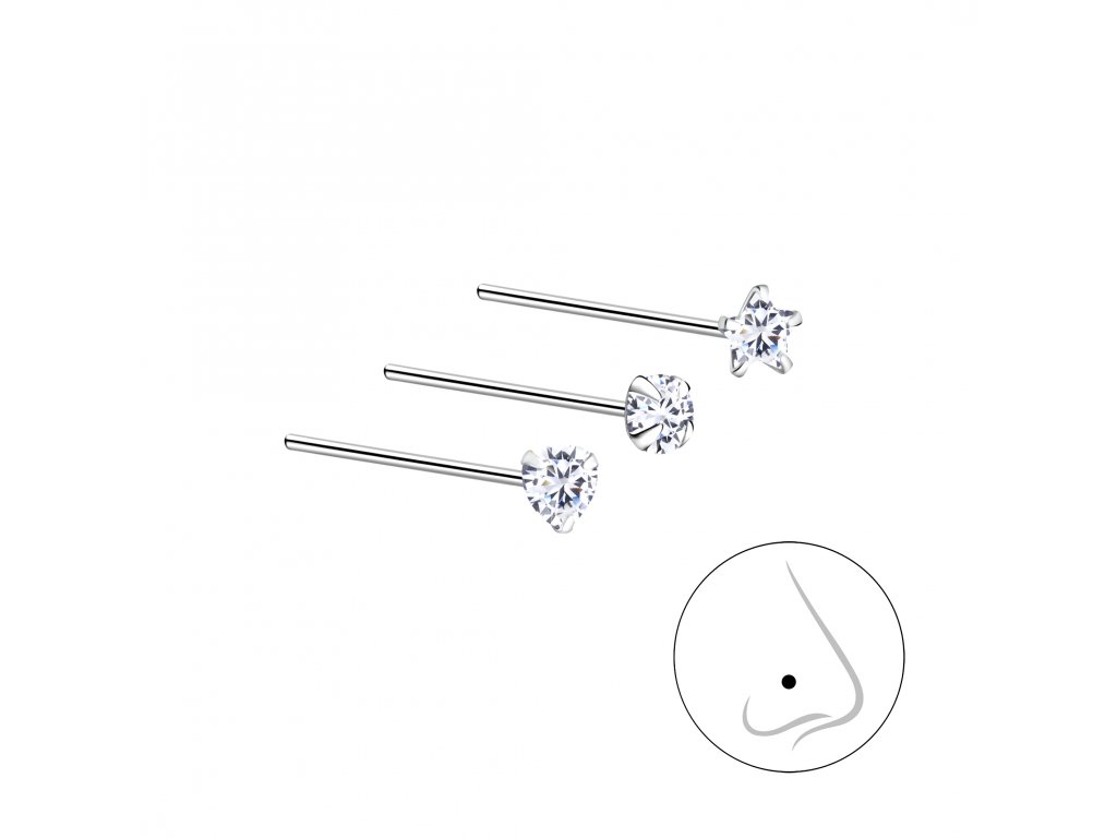 Stříbrný set piercingů X - 3ks  Ag 925/1000