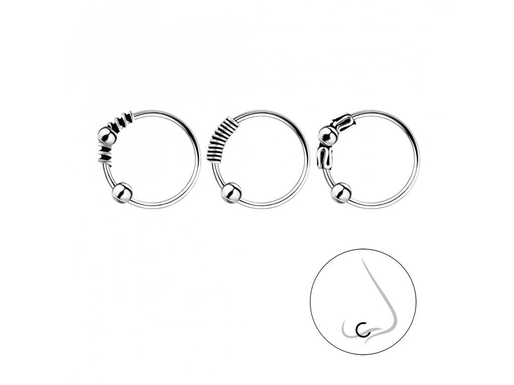 Stříbrný set piercingů Bali - 3ks  Ag 925/1000