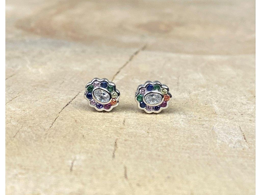 Stříbrné náušnice Rainbow Oval Flower se Zirkony  Ag 925/1000