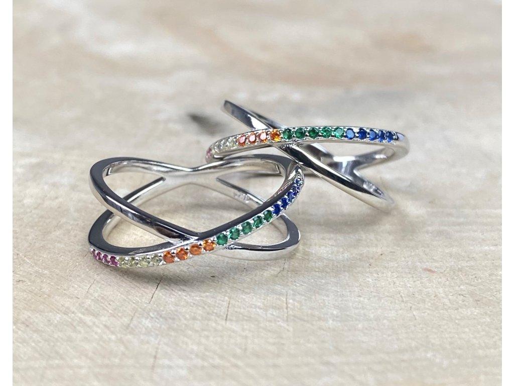 Stříbrný prstýnek Rainbow Cross se Zirkony  Ag 925/1000