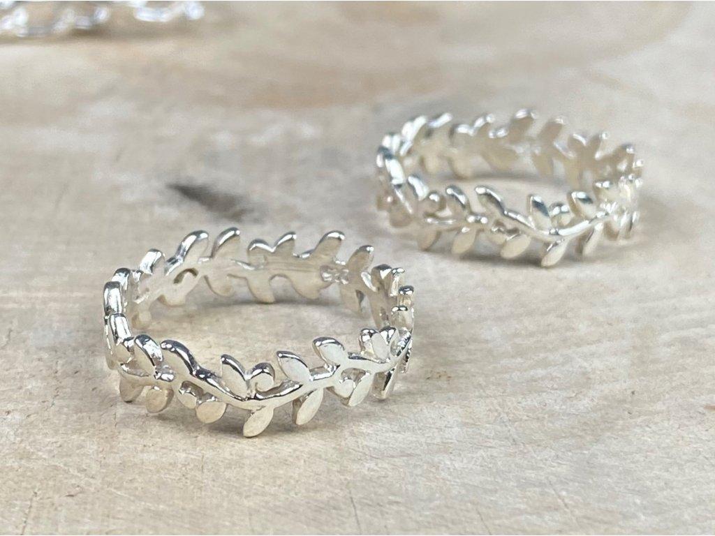Stříbrný prstýnek Leaf  Ag 925/1000