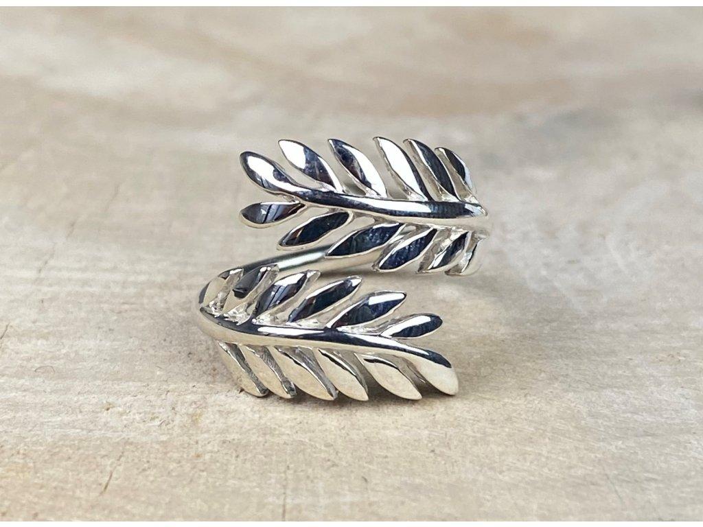 Stříbrný prstýnek Leaf nastavitelný  Ag 925/1000
