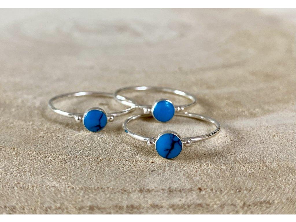 Stříbrný prstýnek Tyrkys Sky Blue round  Ag 925/1000