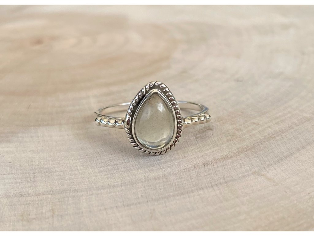 Stříbrný prstýnek Kapka Green Amethyst  Ag 925/1000