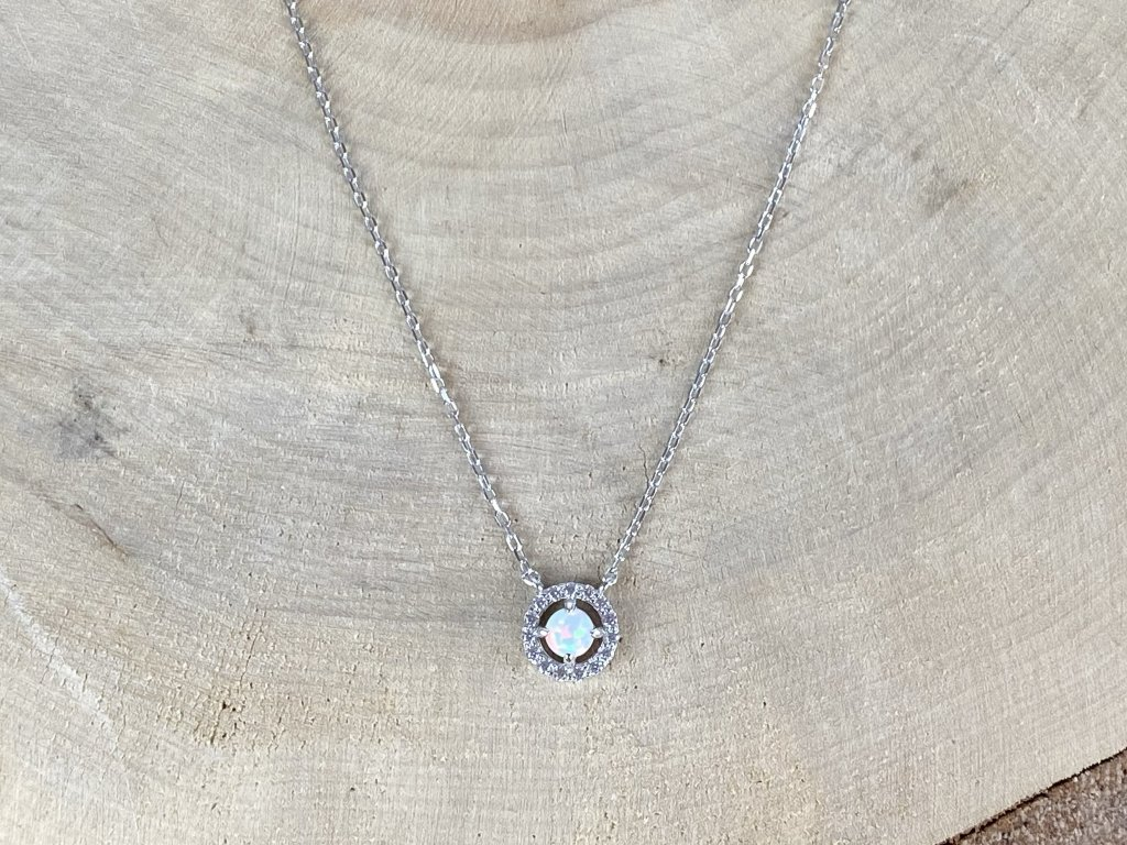 Stříbrný náhrdelník s Opálem a Zirkony  Ag 925/1000