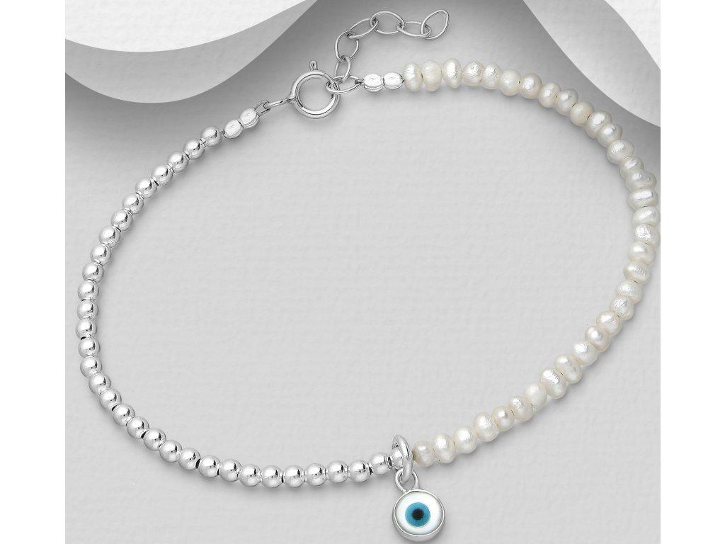 Stříbrný náramek Ball s perlami  Ag 925/1000