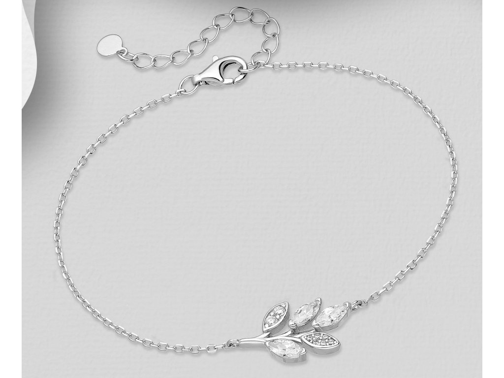 Stříbrný náramek Leaf se Zirkony  Ag 925/1000
