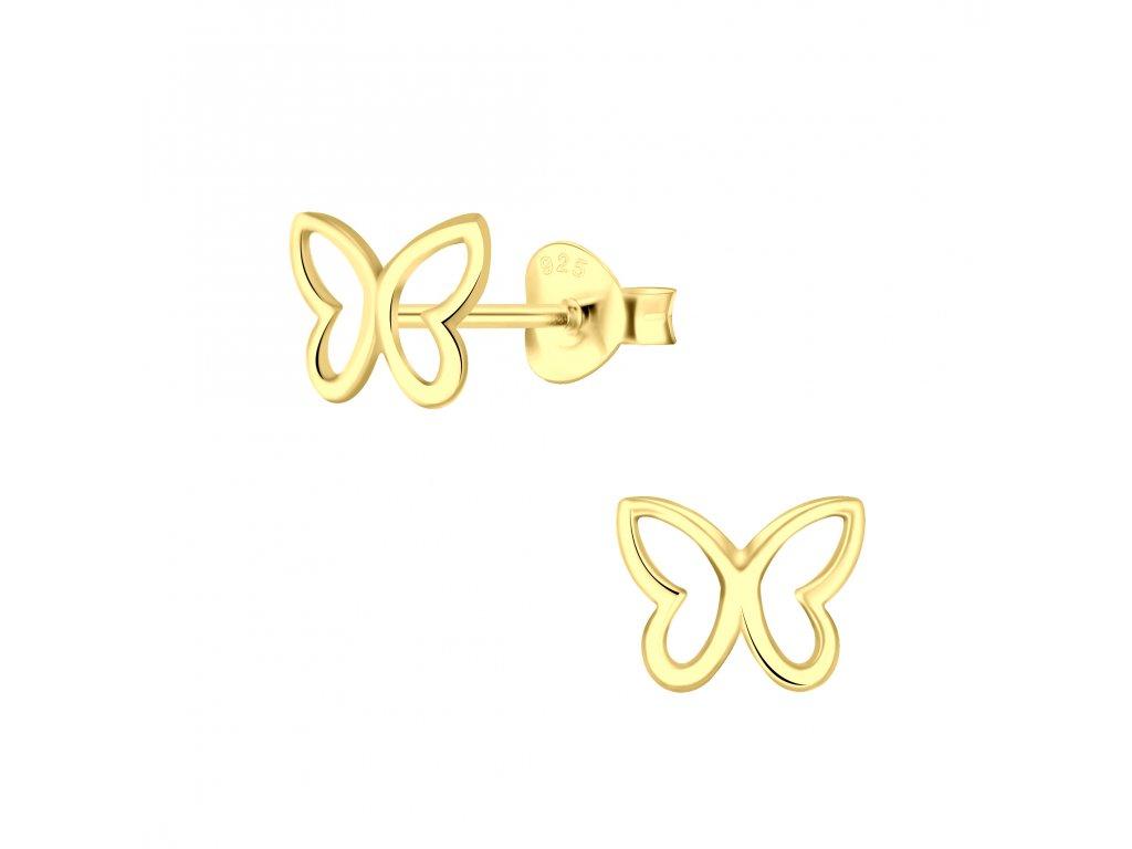 Pozlacené náušnice Motýl  Ag 925/1000