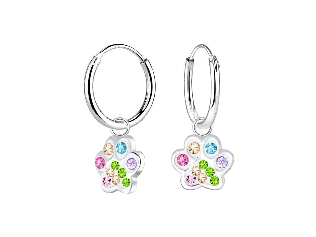 Dětské stříbrné náušnice kroužky s barevnou tlapkou  Ag 925/1000