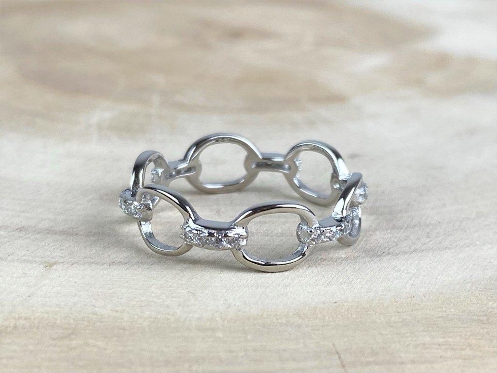 Stříbrný prstýnek CHAIN Simple se Zirkony  Ag 925/1000