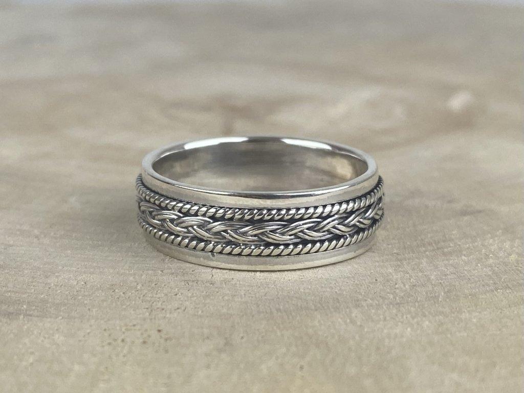 Stříbrný prsten pro muže Weave oxidovaný 7 mm  Ag 925/1000