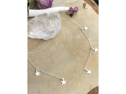 Náhrdelník s hvězdičkami Silver (Délka 48cm)