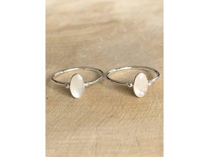 Stříbrný prstýnek Shell Oval (Velikost 9/60)