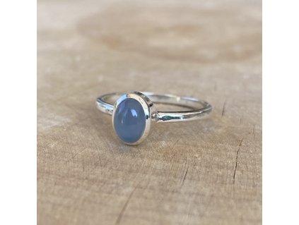 Stříbrný prstýnek Oval Blue Shell (Velikost 9/60)