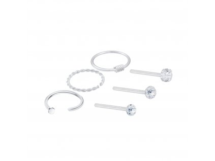 3947 stribrny set piercingu 6ks