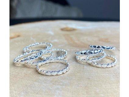 Stříbrný srdíčkový prstýnek  Ag 925/1000