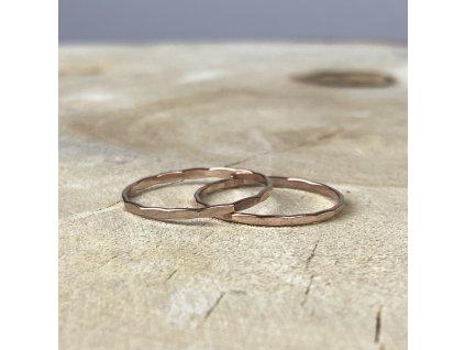 Rose Gold filled prsten kroužek Hammered