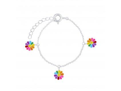 Stříbrný náramek s barevnými květinkami  Ag 925/1000