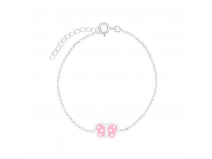 Stříbrný náramek s růžovým motýlkem  Ag 925/1000