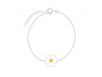 Stříbrný náramek s bílou květinkou  Ag 925/1000
