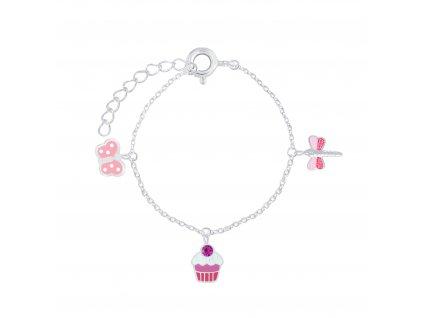 Stříbrný náramek Pink  Ag 925/1000